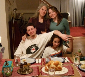 Shabbat Eve included candles, wine, challah, tzedakah boxes and my beautiful family. Nov 2006