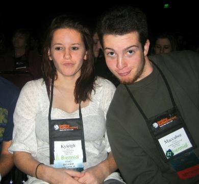 Kyleigh and Mac, URJ Biennial, Dec 2007 ... He must've loved the badge!
