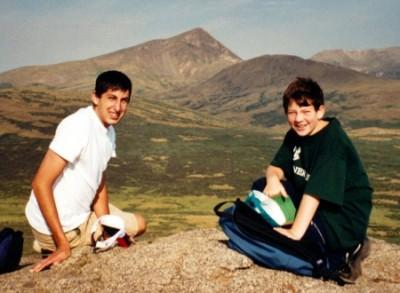 Doug Siegel and Jonah on Mt Bierstadt Clear Creek County, Colorado August 2002