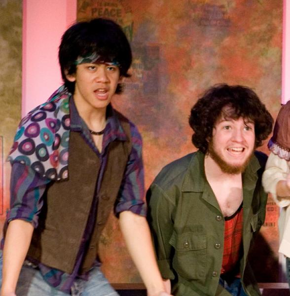 """Mason and Jonah in """"Hair"""" Jun 2008"""