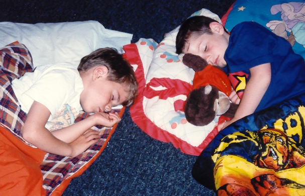 Dan & Jonah tuckered out at Kutz in 1996